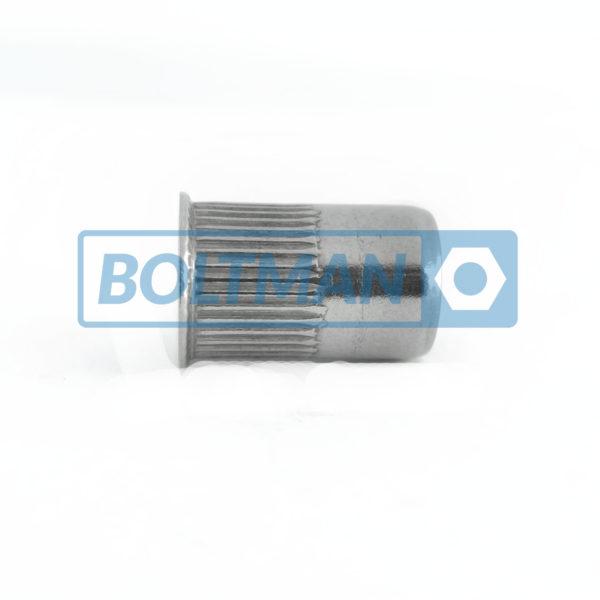 Nitonakrętki aluminium, mini kołnierz stożkowy, radełkowane, otwarte