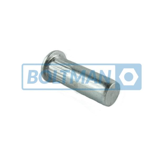 Nitonakrętki aluminium, kołnierz walcowy, radełkowane, zamknięte
